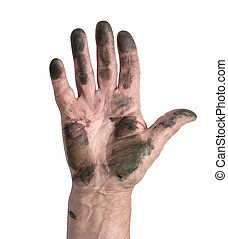 homem, mãos, sujo
