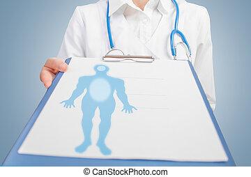 homem médico, silueta, em branco