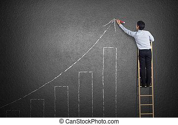 homem, mapa crescimento, negócio, desenho