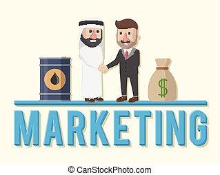 homem, marketing, mão, negócio, abanar