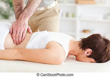 homem, massaging, um, cute, mulher