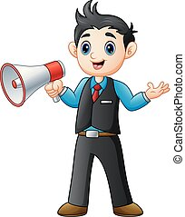 homem, megafone, jovem, segurando, caricatura