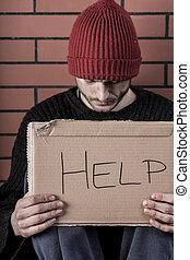 homem, mendicância, para, ajuda