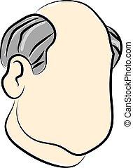 homem, metade, branca, ilustração, calvo, vetorial, fundo