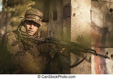 homem, militar, jovem