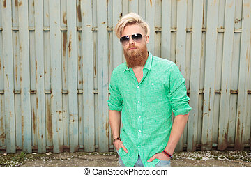 homem, moda, barba, longo, fresco