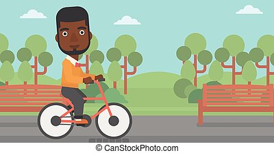 homem, montando, bicycle.