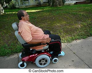homem, montando, poder, cadeira