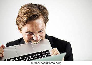 homem, morder, um, laptop, em, frustração