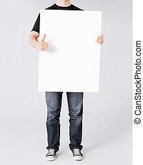 homem, mostrando, branca, em branco, tábua, e, polegares...