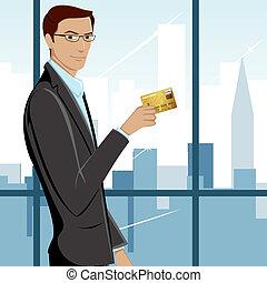 homem, mostrando, cartão crédito