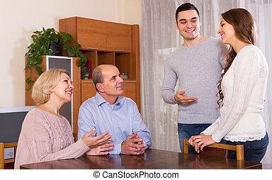 homem, mostrando, seu, futuro, esposa