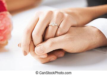 homem mulher, com, anel casamento