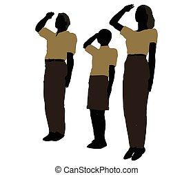 homem, mulher, e, um, criança, silueta, em, militar, saudação, pose