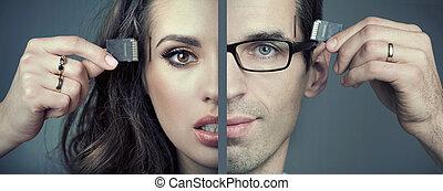homem mulher, inserindo, sd, cartões