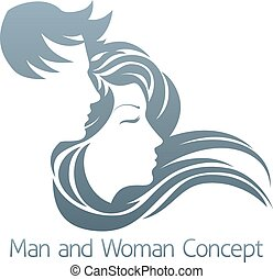 homem mulher, perfil, conceito
