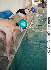 homem mulher, pronto, para, mergulhe, a, piscina