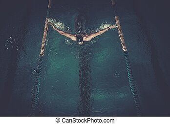 homem, nada, usando, breaststroke, técnica