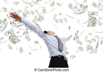 homem negócio, abraço, dinheiro