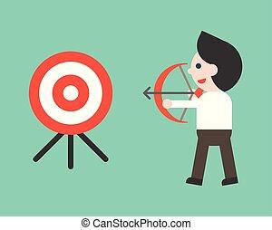 homem negócio, apontar, alvo, com, arco, situação empresarial, alcançar, meta, conceito