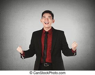 homem, negócio asiático, feliz