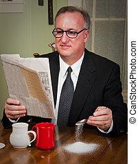 homem negócio, café bebendo