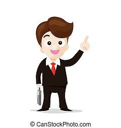 homem negócio, caricatura, sorrizo, e, mostrando, a, dedo,...