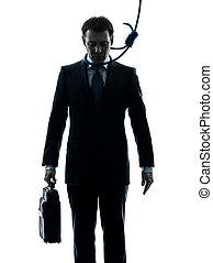 homem negócio, com, carrasco, laço, ao redor pescoço, silueta