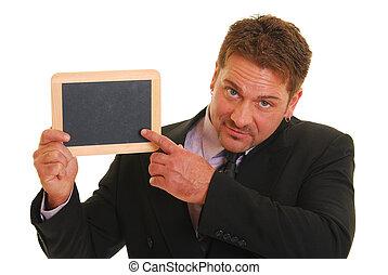 homem negócio, com, em branco, chalkboard