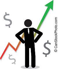 homem negócio, com, gráfico, mostrando, lucro