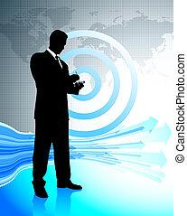 homem negócio, com, laptop, ligado, mapa mundial