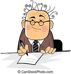 homem negócio, com, panela, ligado, a, escrivaninha
