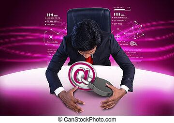 homem negócio, com, segurança internet, conceito