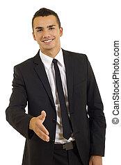 homem negócio, dar, aperto mão