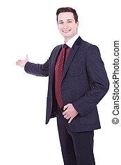 homem negócio, dar, apresentação