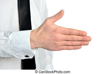 homem negócio, dar, mão