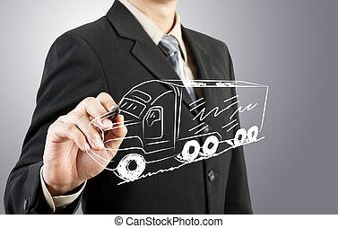 homem negócio, desenhar, caminhão, transporte