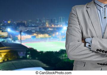 homem negócio, desporto, gerente