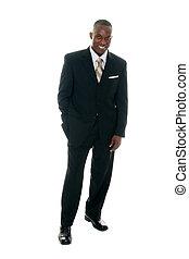 homem negócio, em, terno preto, 2