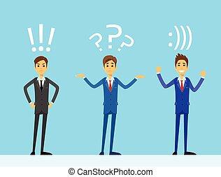 homem negócio, emoções, jogo, com, exclamação, marca pergunta, e, smiley, suporte, internet, teia, conversa, sinal