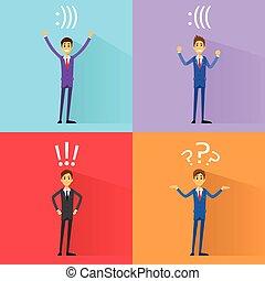 homem negócio, emoções, jogo, com, exclamação, marca pergunta, e, smiley, suporte, sinal