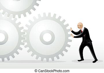 homem negócio, empurrar, roda dente