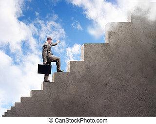 homem negócio, escalando, para, sucesso