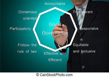 homem negócio, escrita, bom, governo, diagrama