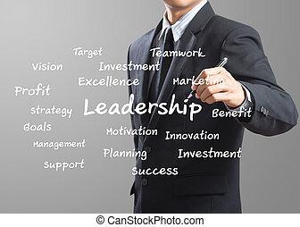 homem negócio, escrita, liderança