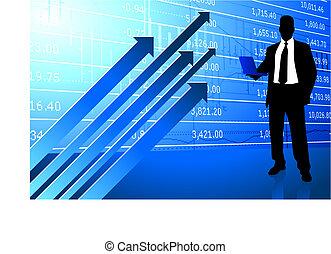 homem negócio, experiência, com, dados mercado conservado...