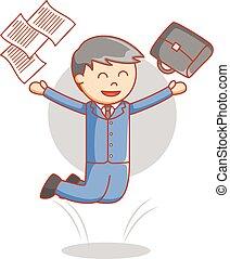 homem negócio, feliz, pular