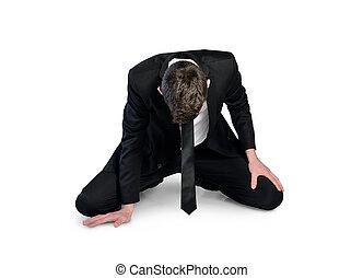 homem negócio, fracasso, sente-se