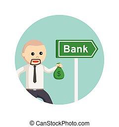 homem negócio, ir, para, banco, prendendo dinheiro, sacolas, em, círculo, fundo