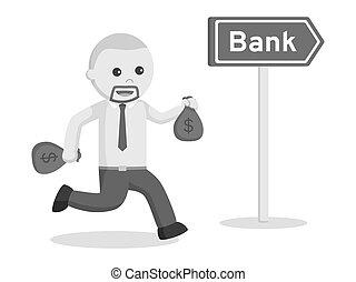 homem negócio, ir, para, banco, prendendo dinheiro, sacolas